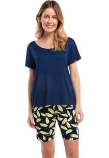 Pijama Com Bermuda Yellow Print Azul Marinho