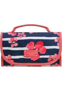Nécessaire Rocambole Com Estampa Floral- Azul Marinho & Jacki Design