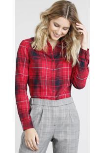Camisa Feminina Estampada Xadrez Com Bolso Manga Longa Vermelha