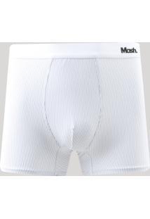 Cueca Boxer Masculina Mash Listrada Branca