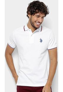 Camisa U.S. Polo Assn Lisa Diferenciada Masculina - Masculino-Branco