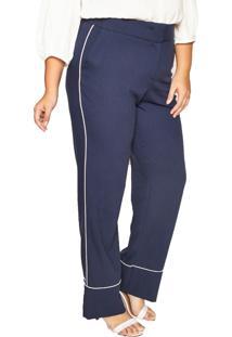Calã§A Almaria Plus Size Pianeta Pantalona Azul Marinho - Azul/Azul Marinho - Feminino - Poliã©Ster - Dafiti