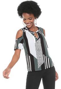 Blusa Cativa Off Shoulder Cinza/Verde