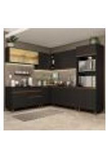 Cozinha Completa De Canto Madesa Reims 452001 Com Armário E Balcão - Preto