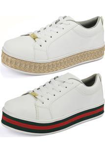 eed571a200f40 ... Kit Sapatenis Confort Flatform Cr Shoes Branco E Branco Com Vermelho