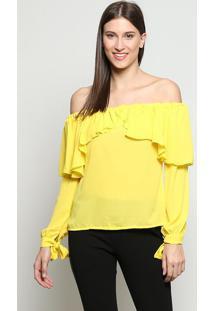 Blusa Ciganinha Com Babados - Amarela - Linho Finolinho Fino