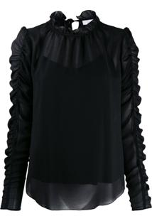 See By Chloé Gathered Sleeve Blouse - Preto