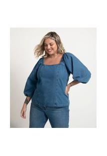 Blusa Jeans Com Manga Bufante E Lastex Nas Costas Curve & Plus Size Azul