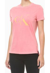 Blusa Feminina Estonada Logo Rosa Calvin Klein Jeans - M