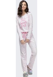 Pijama Manga Longa Rosa