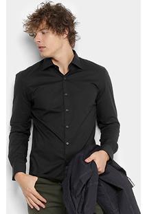 Camisa Ellus Tricoline Slim Manga Longa Masculina - Masculino-Preto