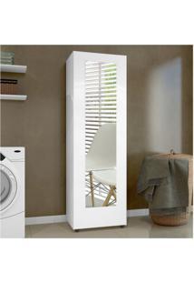 Sapateira Com Espelho 1 Porta 4 Prateleiras Atena Siena Móveis Branco