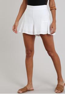 Short Feminino Amplo Com Lurex Off White