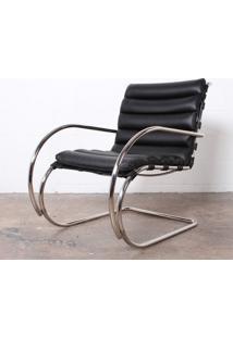 Cadeira Mr Cromada (Com Braços) Couro Ln 378