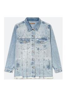 Jaqueta Jeans Alongada Com Aplicações Curve & Plus Size Azul