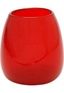 Vaso Bianco & Nero Cerise Vermelho 15X12Cm Vermelho - Kanui