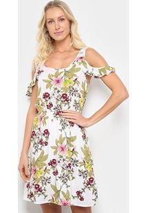 Vestido Curto Pérola Open Shoulder Floral - Feminino-Branco