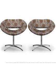 Kit 2 Cadeiras Beijo Marrom Floral Poltrona Decorativa Com Base Giratória