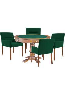Mesa De Jogos Carteado Victoria Redonda Tampo Reversível Amêndoa Com Kit 4 Cadeiras Vicenza Verde - Gran Belo