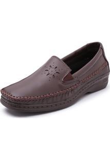 Sapato Sapatilha Pizaflex Anabela Confort Marrom