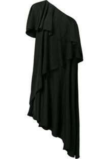 Lanvin Vestido Assimétrico Com Babados - Preto