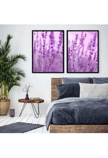 Quadro 65X90Cm Flores Lavanda Paisagem Moldura Preta E Vidro