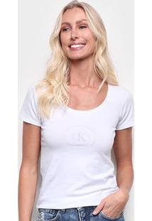 Blusa Calvin Klein Mc Slim Logo Cot Gu Manga Curta Feminina - Feminino
