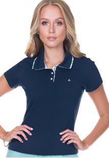 4fb54bb9d9286 Camisa Pólo Azul Marinho Floral feminina   Shoelover