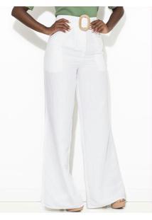 Calça Linho Pantalona Branca