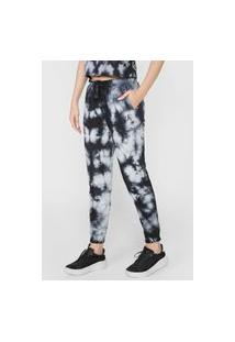 Calça De Moletom Calvin Klein Jeans Reta Tie Dye Preta/Cinza