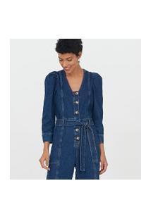 Macacão Jeans Com Manga Bufante E Cinto Faixa | Marfinno | Azul | Pp