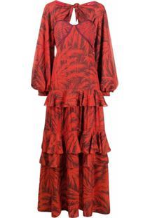 Johanna Ortiz Vestido Floral Com Amarração - Vermelho