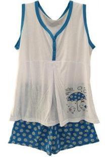 Pijama Gestante Victory De Verão Short Doll Feminino - Feminino-Azul