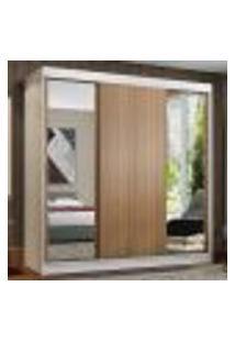 Guarda-Roupa Casal Madesa Reno 3 Portas De Correr Com Espelhos - Branco/Rustic