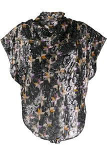 Isabel Marant Printed Metallic Blouse - Preto