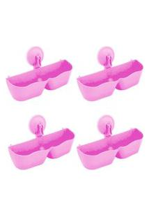 Kit 4 Sapateiras Organizadoras De Plástico Parede Com Ventosa Rosa
