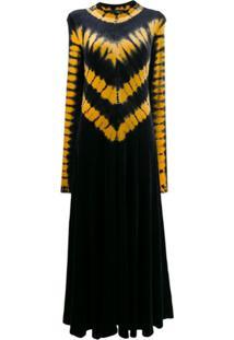 Proenza Schouler Tie-Dye Print Midi Dress - Preto
