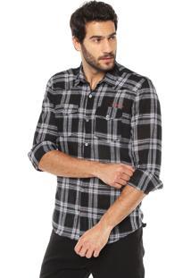 Camisa Calvin Klein Jeans Xadrez Preta