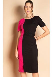 Vestido Com Bolsos Laterais Preto E Pink