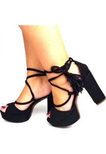 Sandália Love Shoes Meia-Pata Salto Grosso Lace Up Franjas Preto