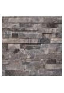 Papel De Parede Vinilico Lavavel Textura Pedra Escura Filete