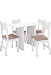 Conjunto De Mesa E 4 Cadeiras Para Sala De Jantar Milano-Poliman - Branco / Savana
