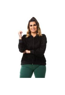 Jaqueta Feminina Bomber Tule Devore Plus Size