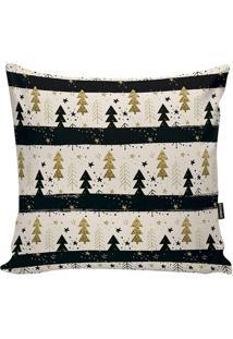 Capa Para Almofada ÁRvores De Natal- Branca & Dourada