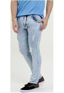 Calça Masculina Jeans Skinny Stretch Destroyed Mr