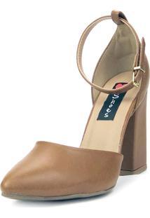 Scarpin Love Shoes Salto Grosso Alto Fino Fivela Caramelo - Kanui