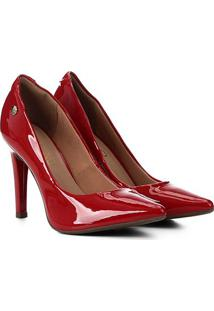 Scarpin Via Uno Bico Fino Salto Alto Verniz - Feminino-Vermelho
