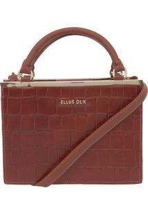 Bolsa Ellus Handbag Croco Metal Caramelo