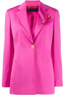 Versace Blazer Com Aplicação De Broche - Rosa