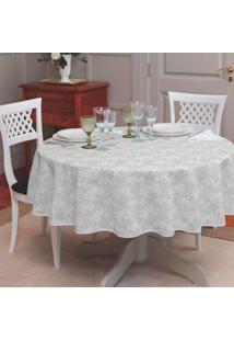 Toalha De Mesa Redonda Gardênia Elegance Branca (155X155)